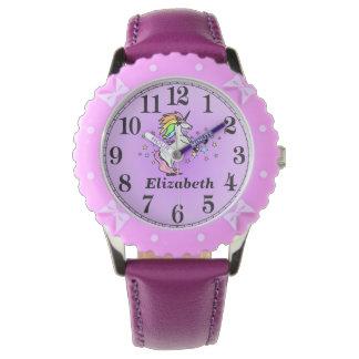 Relógio Unicórnio roxo feminino e seu nome