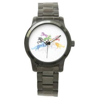 Relógio Unicórnios selvagens coloridos da ilustração