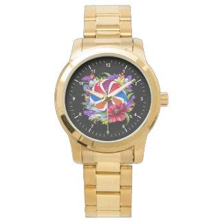 Relógio unisex do bracelete do ouro da eternidade