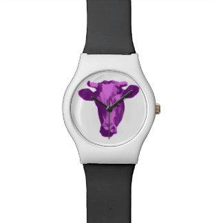 Relógio Vaca cor-de-rosa & roxa do pop art