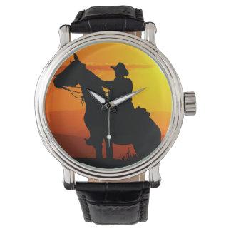 Relógio Vaqueiro-Vaqueiro-luz do sol-ocidental-país do por