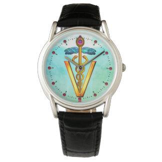 Relógio Verde azul do Aqua VETERINÁRIO DOURADO do SÍMBOLO