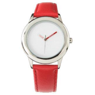 Relógio vermelho de aço inoxidável da correia de