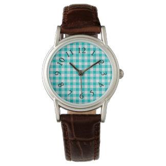 Relógio Vintage-Fabric-Series_Turquoise-Plaid