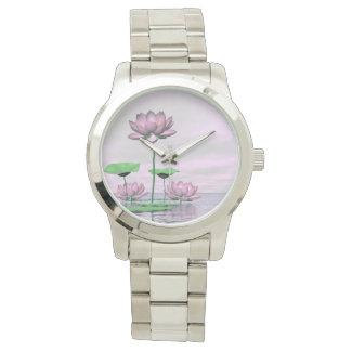 Relógio Waterlilies e flores de lótus cor-de-rosa - 3D