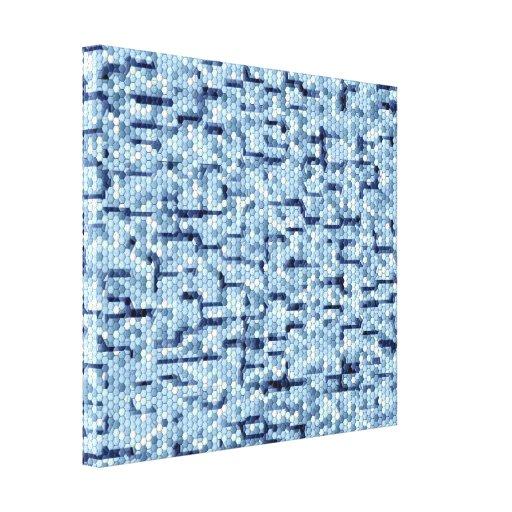 Remendos do projeto no azul impressão de canvas envolvidas