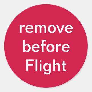 remova antes do vôo adesivos em formato redondos