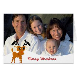 Rena bonito com foto de família ou foto dos casais cartão comemorativo