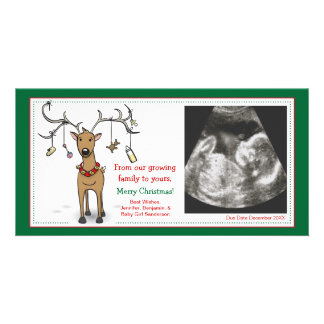Cartão Rena do anúncio da gravidez do cartão de Natal