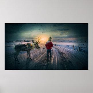 rena do inverno e impressão surreal do Natal da