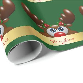 rena do Natal com uma dedicação especial Papel De Presente