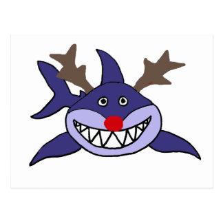 Rena engraçada do tubarão do Natal Cartão Postal