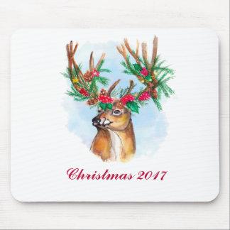 Rena Mousepad do Natal da aguarela