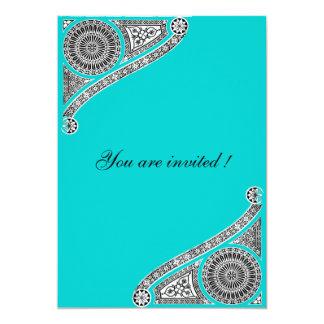 RENASCIMENTO, azul do Aqua da cerceta, Turquase Convites Personalizados