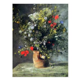 Renoir, flores em um cartão do vaso