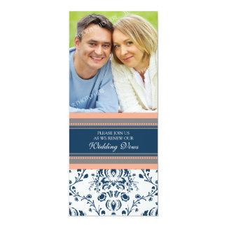 Renovação azul coral do voto de casamento da foto convite personalizados