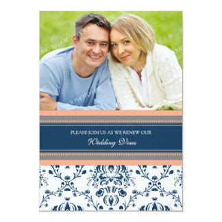 Renovação azul coral do voto de casamento da foto convites personalizado