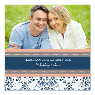 Renovação azul coral do voto de casamento da foto convite quadrado 13.35 x 13.35cm