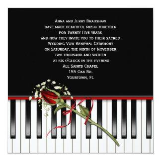 Renovação do voto de casamento do piano convites personalizado