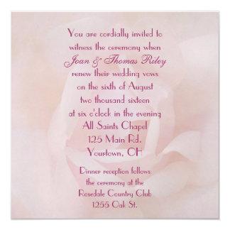 Renovação do voto de casamento do rosa do rosa convite quadrado 13.35 x 13.35cm