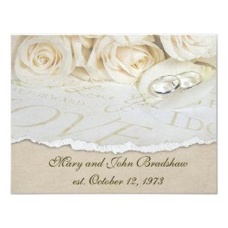 Renovação do voto de casamento dos rosas brancos convite 10.79 x 13.97cm