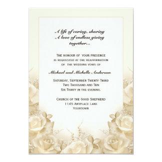 Renovação do voto de casamento dos rosas do Sepia Convite 12.7 X 17.78cm