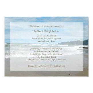 Renovação do voto de casamento pela praia convite 12.7 x 17.78cm