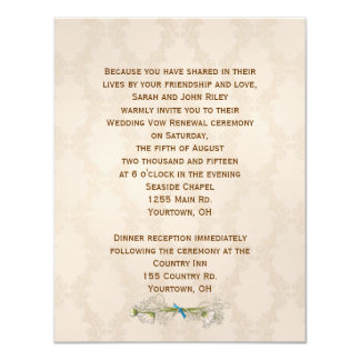 Renovação do voto de casamento tema damasco do convite 10.79 x 13.97cm