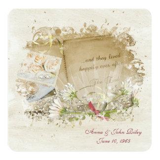 Renovação do voto do livro do casamento convite quadrado 13.35 x 13.35cm