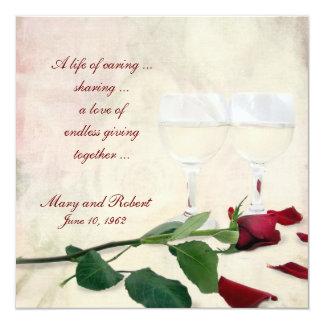 Renovação do voto no aniversário de casamento convite quadrado 13.35 x 13.35cm
