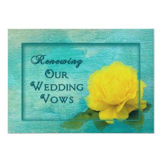 Renovação dos votos - rosa amarelo do casamento convite 12.7 x 17.78cm