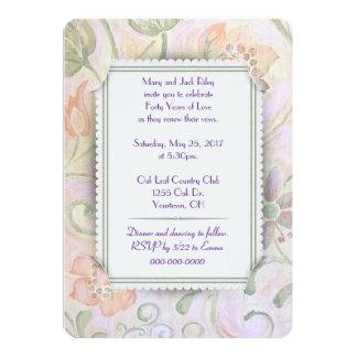 Renovação floral do voto de casamento de papel convite