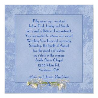 Renovação gravada floral azul do voto de casamento convite personalizado