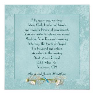 Renovação gravada floral do voto de casamento da convite quadrado 13.35 x 13.35cm