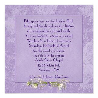 Renovação gravada floral roxa do voto de casamento convites personalizado