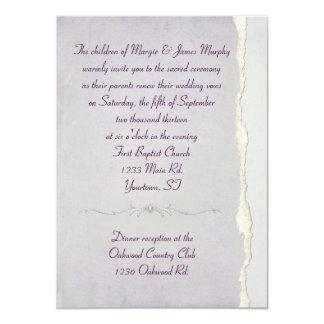 Renovação rasgada do voto de casamento da lavanda convite 11.30 x 15.87cm