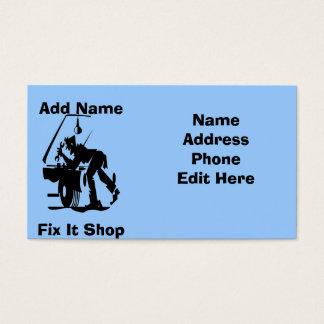Reparo do mecânico ele cartões da loja
