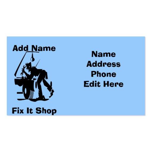 Reparo do mecânico ele cartões da loja modelos cartões de visitas