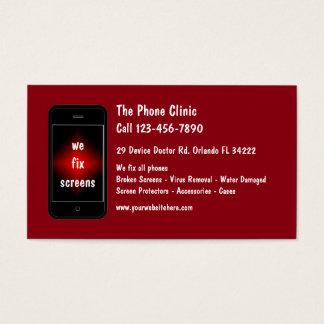 Reparo do telefone móvel cartão de visitas