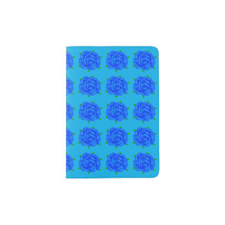Repetição azul dos rosas no suporte do passaporte capa para passaporte