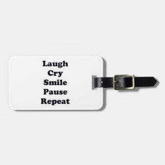 Repetição do riso etiqueta de bagagem