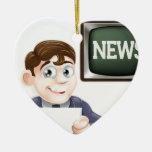 Repórter da notícia enfeite de natal