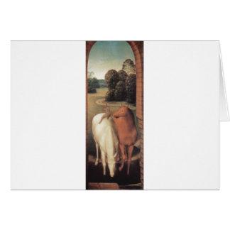 Representação alegórica de dois cavalos cartão comemorativo
