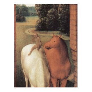 Representação alegórica de dois cavalos cartão postal