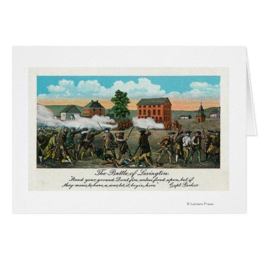 Representação da batalha de Lexington Cartões