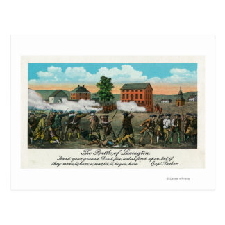 Representação da batalha de Lexington Cartão Postal