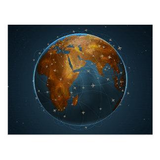 Representação global das linhas aéreas cartão postal