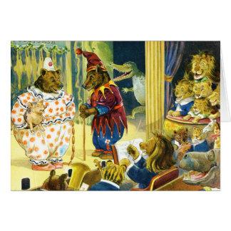 Representação histórica do Natal na terra animal Cartão Comemorativo