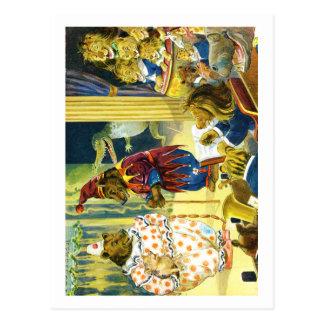 Representação histórica do Natal na terra animal Cartão Postal
