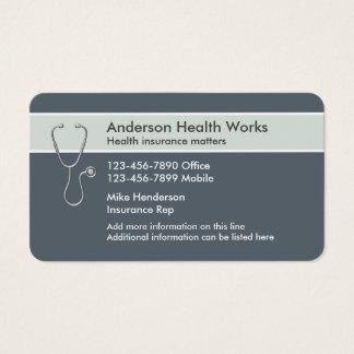 Representante do seguro de saúde cartão de visitas